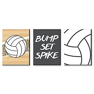 "Bump, Set, Spike - Volleyball - Sports Themed Wall Art & Kids Room Décor - 7.5"" x 10"" - Set of 3 Prints"