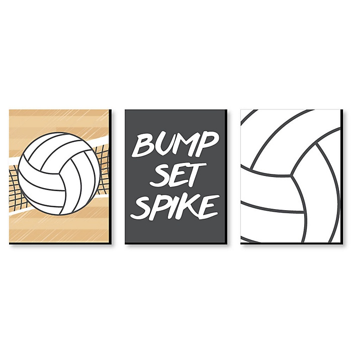 Bump, Set, Spike - Volleyball - Sports Themed Nursery Wall Art, Kids Room Decor and Game Room Home Decorations - 7.5 x 10 inches - Set of 3 Prints