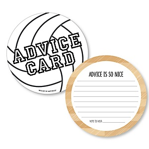 Bump, Set, Spike - Volleyball - Wish Card Baby Shower Activities - Shaped Advice Cards Game - Set of 20