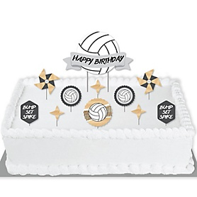 Bump, Set, Spike - Volleyball - Birthday Party Cake Decorating Kit - Happy Birthday Cake Topper Set - 11 Pieces