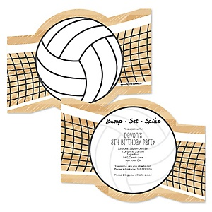 Bump, Set, Spike - Volleyball - Personalized Birthday Party Invitations - Set of 12