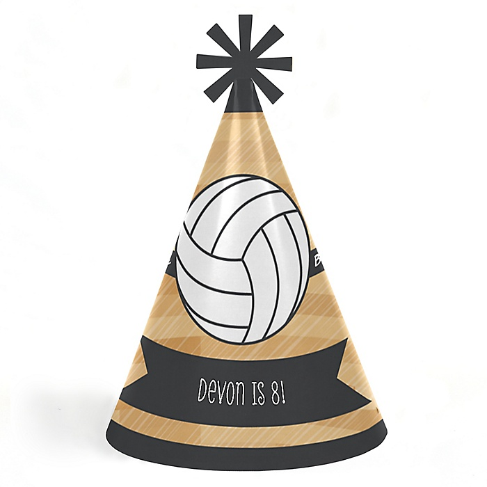Bump, Set, Spike - Volleyball - Personalized Cone Happy Birthday Party Hats for Kids and Adults - Set of 8 (Standard Size)
