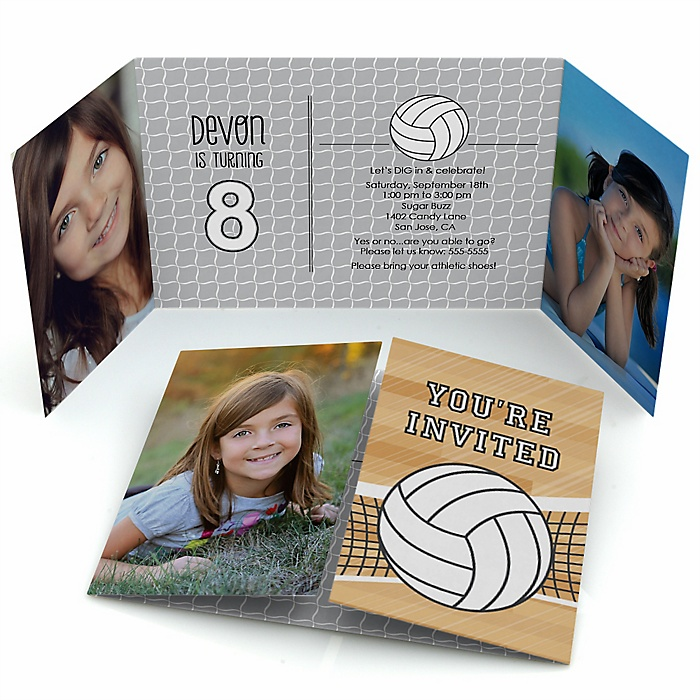Bump, Set, Spike - Volleyball - Personalized Birthday Party Photo Invitations - Set of 12