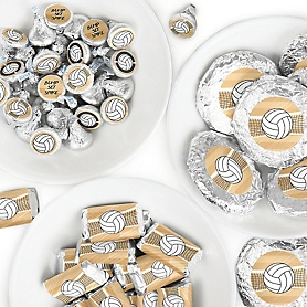 Bump, Set, Spike - Volleyball - Mini Candy Bar Wrappers, Round Candy Stickers and Circle Stickers - Baby Shower or Birthday Party Candy Favor Sticker Kit - 304 Pieces