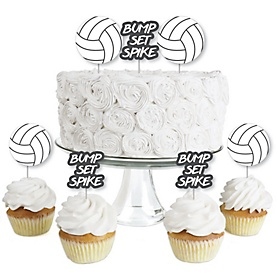 Bump, Set, Spike - Volleyball - Dessert Cupcake Toppers - Baby Shower or Birthday Party Clear Treat Picks - Set of 24
