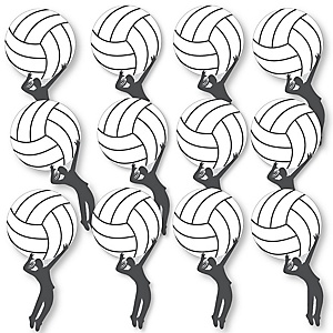 Bump, Set, Spike - Volleyball Fundraising - Spirit Cheer Gear - Fan Sports Swag Paddles - Set of 12