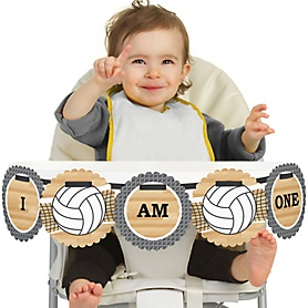 Bump, Set, Spike - Volleyball 1st Birthday - I am One - First Birthday High Chair Banner
