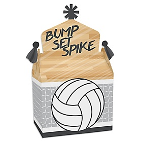 Bump, Set, Spike - Volleyball - Treat Box Party Favors - Baby Shower or Birthday Party Goodie Gable Boxes - Set of 12