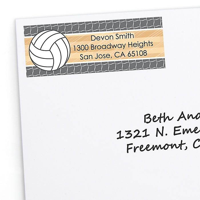 Bump, Set, Spike - Volleyball - Personalized Party Return Address Labels - 30 ct