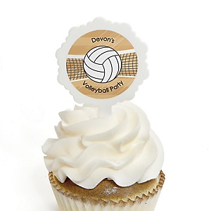 Bump, Set, Spike - Volleyball - 12 Cupcake Picks & 24 Personalized Stickers - Party Cupcake Toppers