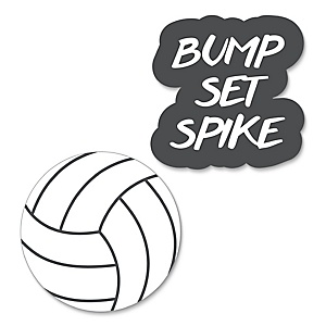 Bump, Set, Spike - Volleyball - Shaped Party Paper Cut-Outs - 24 ct