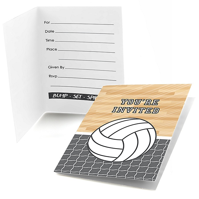 Bump, Set, Spike - Volleyball - Fill in Party Invitations - 8 ct
