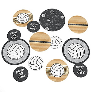 Bump, Set, Spike - Volleyball - Baby Shower or Birthday Party Giant Circle Confetti - Volleyball Party Decorations - Large Confetti 27 Count