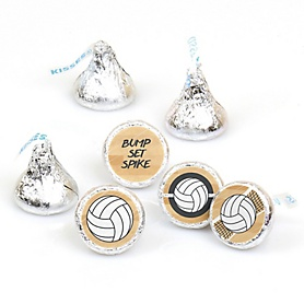 Bump, Set, Spike - Volleyball - Round Candy Labels Party Favors - Fits Hershey's Kisses - 108 ct