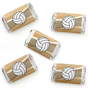 Bump, Set, Spike - Volleyball - Mini Candy Bar Wrapper Stickers - Baby Shower or Birthday Party Small Favors - 40 Count