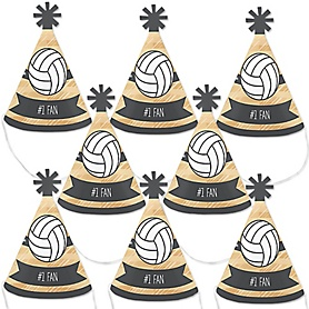 Bump, Set, Spike - Volleyball - Mini Cone Baby Shower or Birthday Party Hats - Small Little Party Hats - Set of 8