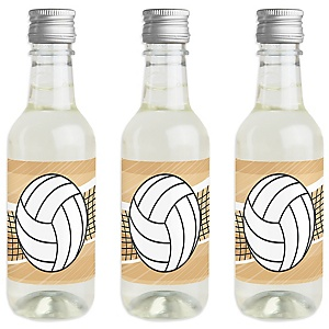 Bump, Set, Spike - Volleyball - Mini Wine and Champagne Bottle Label Stickers - Baby Shower or Birthday Party Favor Gift for Women and Men - Set of 16