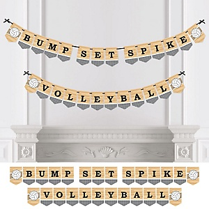 Bump, Set, Spike - Volleyball - Baby Shower or Birthday Party Bunting Banner - Party Decorations - Bump Set Spike Volleyball