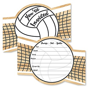 Bump, Set, Spike - Volleyball - Shaped Fill-In Invitations - Baby Shower or Birthday Party Invitation Cards with Envelopes - Set of 12