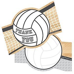 Bump, Set, Spike - Volleyball - Shaped Thank You Cards - Baby Shower or Birthday Party Thank You Note Cards with Envelopes - Set of 12