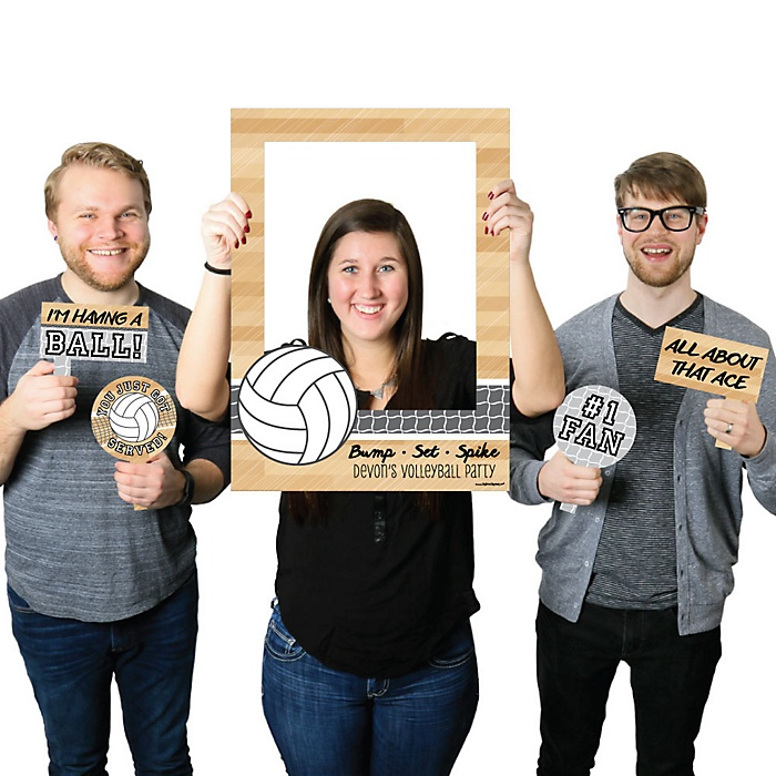 Bump, Set, Spike - Volleyball - Personalized Birthday Party or Baby Shower Selfie Photo Booth Picture Frame & Props - Printed on Sturdy Material