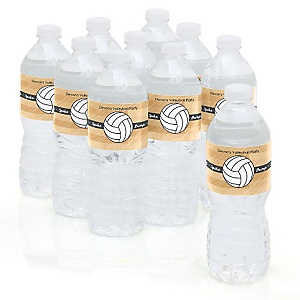 Bump, Set, Spike - Volleyball - Personalized Party Water Bottle Sticker Labels - Set of 10