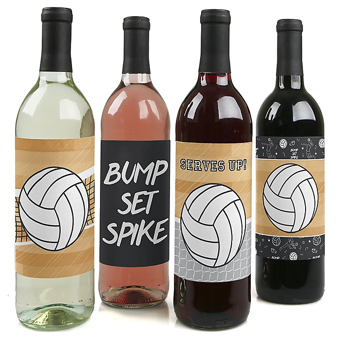Bump, Set, Spike - Volleyball - Baby Shower or Birthday Party Decorations for Women and Men - Wine Bottle Label Stickers - Set of 4