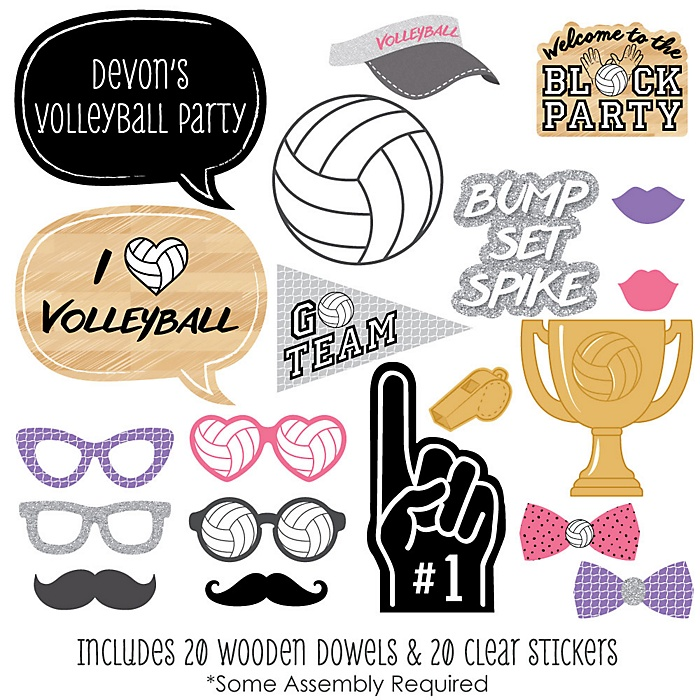 Bump, Set, Spike - Volleyball - 20 Piece Photo Booth Props Kit