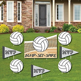 Bump, Set, Spike - Volleyball - Yard Sign & Outdoor Lawn Decorations - Baby Shower or Birthday Party Yard Signs - Set of 8