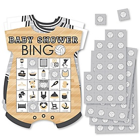 Bump, Set, Spike - Volleyball - Picture Bingo Cards and Markers - Baby Shower Shaped Bingo Game - Set of 18