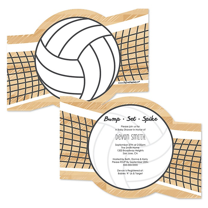 Bump, Set, Spike - Volleyball - Shaped Party Invitations - Set of 12