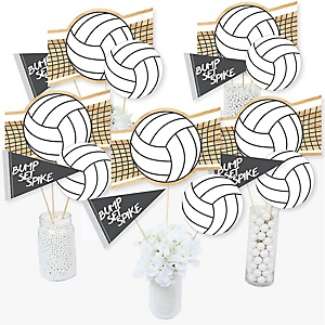 Bump, Set, Spike - Volleyball - Baby Shower or Birthday Party Centerpiece Sticks - Table Toppers - Set of 15