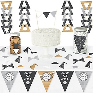 Bump, Set, Spike - Volleyball - DIY Pennant Banner Decorations - Baby Shower or Birthday Party Triangle Kit - 99 Pieces
