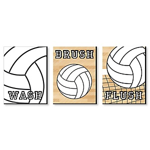 "Bump, Set, Spike - Volleyball - Kids Bathroom Rules Wall Art - 7.5"" x 10"" - Set of 3 Signs - Wash, Brush, Flush"