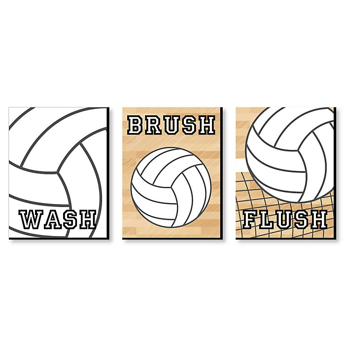 Bump, Set, Spike - Volleyball - Kids Bathroom Rules Wall Art - 7.5 x 10 inches - Set of 3 Signs - Wash, Brush, Flush