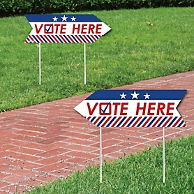Vote Here - Political 2020 Election Day Sign Arrow - Double Sided Directional Yard Signs - Set of 2
