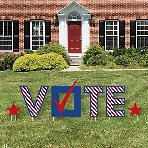 Vote Here - Yard Sign Outdoor Lawn Decorations - Political 2020 Election Day Yard Signs - Vote