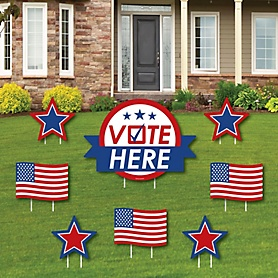 Vote Here - Yard Sign and Outdoor Lawn Decorations - Political 2020 Election Day Yard Signs - Set of 8