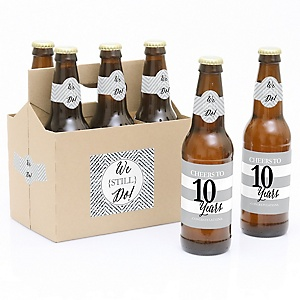 We Still Do - 10th Wedding Anniversary - Decorations for Women and Men - 6 Beer Bottle Label Stickers and 1 Carrier