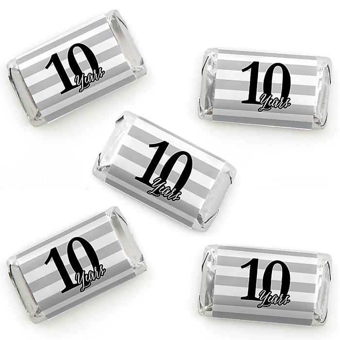 We Still Do - 10th Wedding Anniversary - Mini Candy Bar Wrapper Stickers - Anniversary Party Small Favors - 40 Count