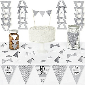 We Still Do - 10th Wedding Anniversary - DIY Pennant Banner Decorations - Anniversary Party Triangle Kit - 99 Pieces