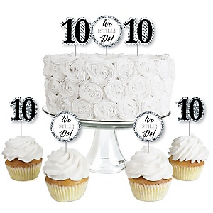 We Still Do - 10th Wedding Anniversary - Dessert Cupcake Toppers - Anniversary Party Clear Treat Picks - Set of 24