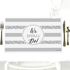We Still Do - 10th Wedding Anniversary - Party Table Decorations - Wedding Anniversary Placemats - Set of 12