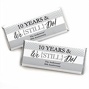 We Still Do - 10th Wedding Anniversary - Personalized Candy Bar Wrappers Wedding Anniversary Party Favors - Set of 24
