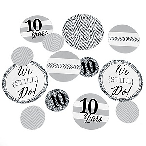 We Still Do - 10th Wedding Anniversary - Wedding Anniversary Giant Circle Confetti - Anniversary Party Decorations - Large Confetti 27 Count