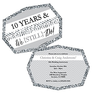 We Still Do - 10th Wedding Anniversary - Shaped Anniversary Invitations - Set of 12
