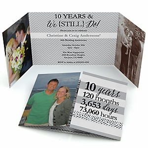 We Still Do - 10th Wedding Anniversary - Personalized Wedding Anniversary Photo Invitations - Set of 12