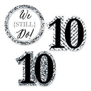 We Still Do - 10th Wedding Anniversary - DIY Shaped Wedding Anniversary Paper Cut-Outs - 24 ct