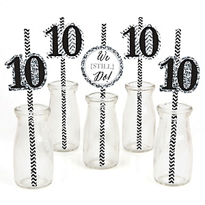 We Still Do - 10th Wedding Anniversary Paper Straw Decor - Anniversary Party Striped Decorative Straws - Set of 24
