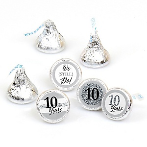 We Still Do - 10th Wedding Anniversary - Round Candy Labels Wedding Anniversary Favors - Fits Hershey's Kisses - 108 ct